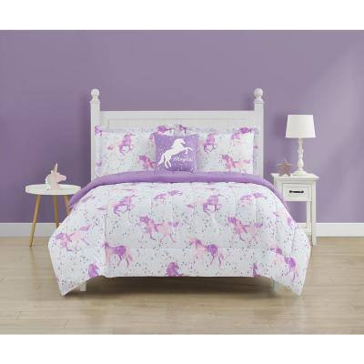 Spellbound Purple 4-Piece Microfiber Full Comforter Set
