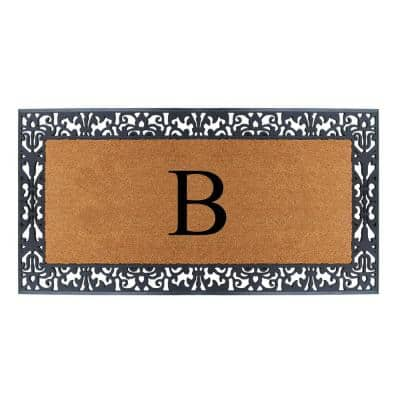 Floral Border Paisley Black 30 in. H x 60 in. H Rubber and Coir Monogrammed B Door Mat