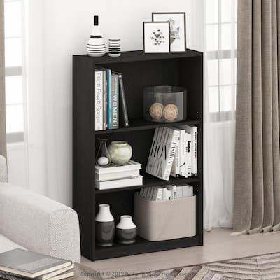 40.3 in. Black Wood 3-shelf Standard Bookcase with Adjustable Shelves