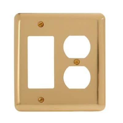 Brass 2-Gang 1-Decorator/Rocker/1-Duplex Wall Plate (1-Pack)