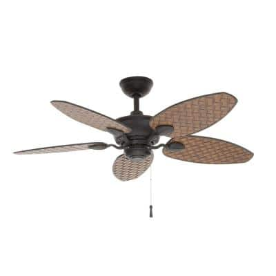 Largo 48 in. Indoor/Outdoor Gilded Iron Wet Rated Downrod Ceiling Fan with Reversible Motor