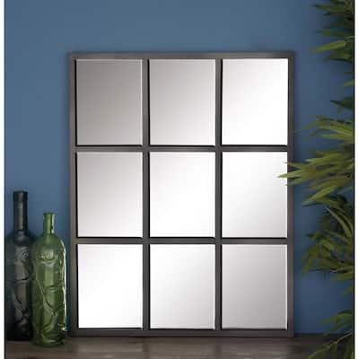 Medium Rectangle Gray Contemporary Mirror (33 in. H x 26 in. W)