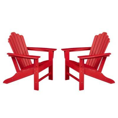 Classic Red Plastic Adirondack Chair for Outdoor Garden Porch Patio Deck Backyard (2-Pack)