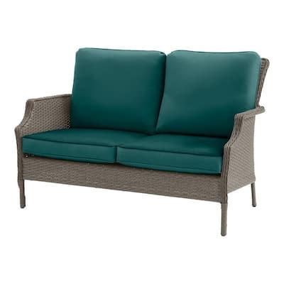 Grayson Ash Gray Wicker Outdoor Patio Loveseat with CushionGuard Malachite Cushions