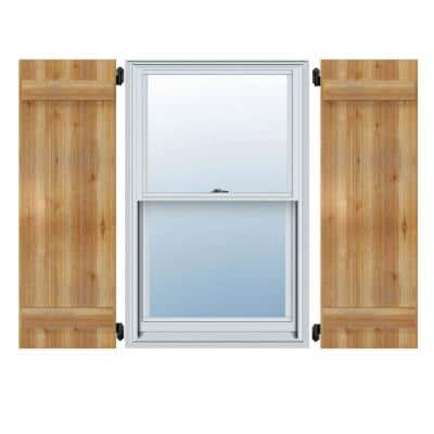 """16-1/8"""" X 52""""Timbercraft Rustic Wood Three 5-3/8""""Joined Board and Batten Shutters Rough Sawn Cedar(pair)"""