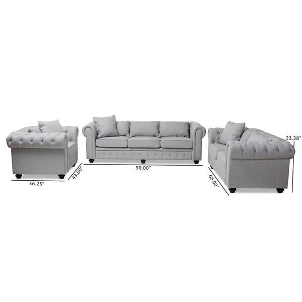 Baxton Studio Alaise 3 Piece Gray, Studio Collection 3 Piece Furniture Set