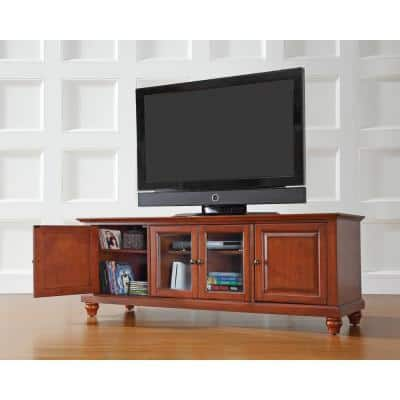 Cambridge 60 in. Cherry Wood TV Stand Fits TVs Up to 60 in. with Storage Doors
