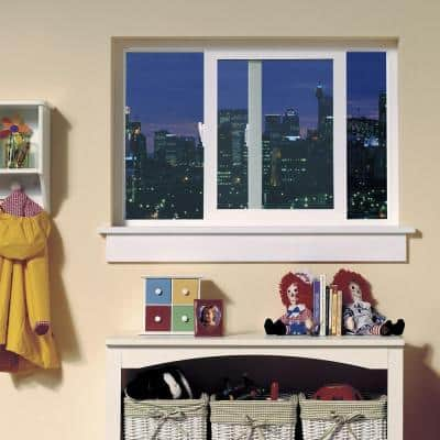 59.5 in. x 47.5 in. V-4500 Series White Vinyl Left-Handed Sliding Window with Colonial Grids/Grilles