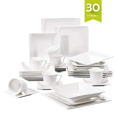 Carina 30-Piece Casual Ivory White Porcelain Dinnerware Set (Service for 6)