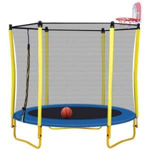 60 in. Trampoline with Enclosure Include Basketball Hoop and Ball