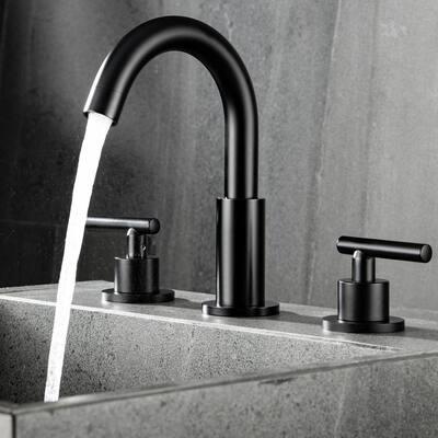 8 in. Widespread Double Handle Bathroom Faucet with Gooseneck in Matte Black