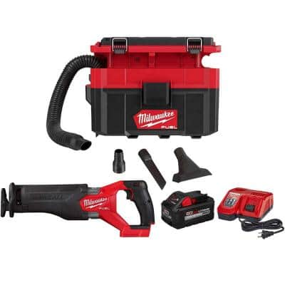 M18 FUEL PACKOUT 18-Volt 2.5 Gal. Lithium-Ion Cordless Wet/Dry Vacuum and SAWZALL Reciprocating Saw Kit