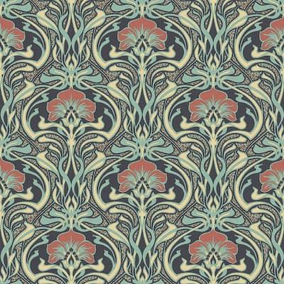 Donovan Moss Nouveau Floral Sample Moss Wallpaper Sample
