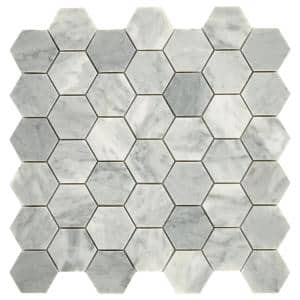 Restore Mist Honed 12 in. x 12 in. x 8mm Marble Mosaic Floor and Wall Tile (0.97 sq. ft./ piece)