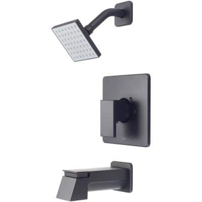 Mod 1-Handle Wall Mount Tub and Shower Faucet Trim Kit with Square Showerhead in Polished Chrome (Valve not Included)