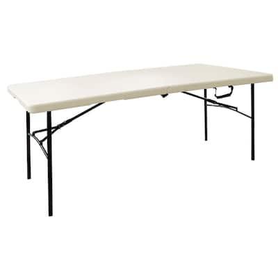 72 in. Earth Tan Plastic Fold-in-Half Folding Utility Table