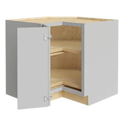 Tremont Assembled 36x34.5x24 in. Plywood Shaker Lazy Suzan Base Corner Kitchen Cabinet Left in Painted Pearl Gray