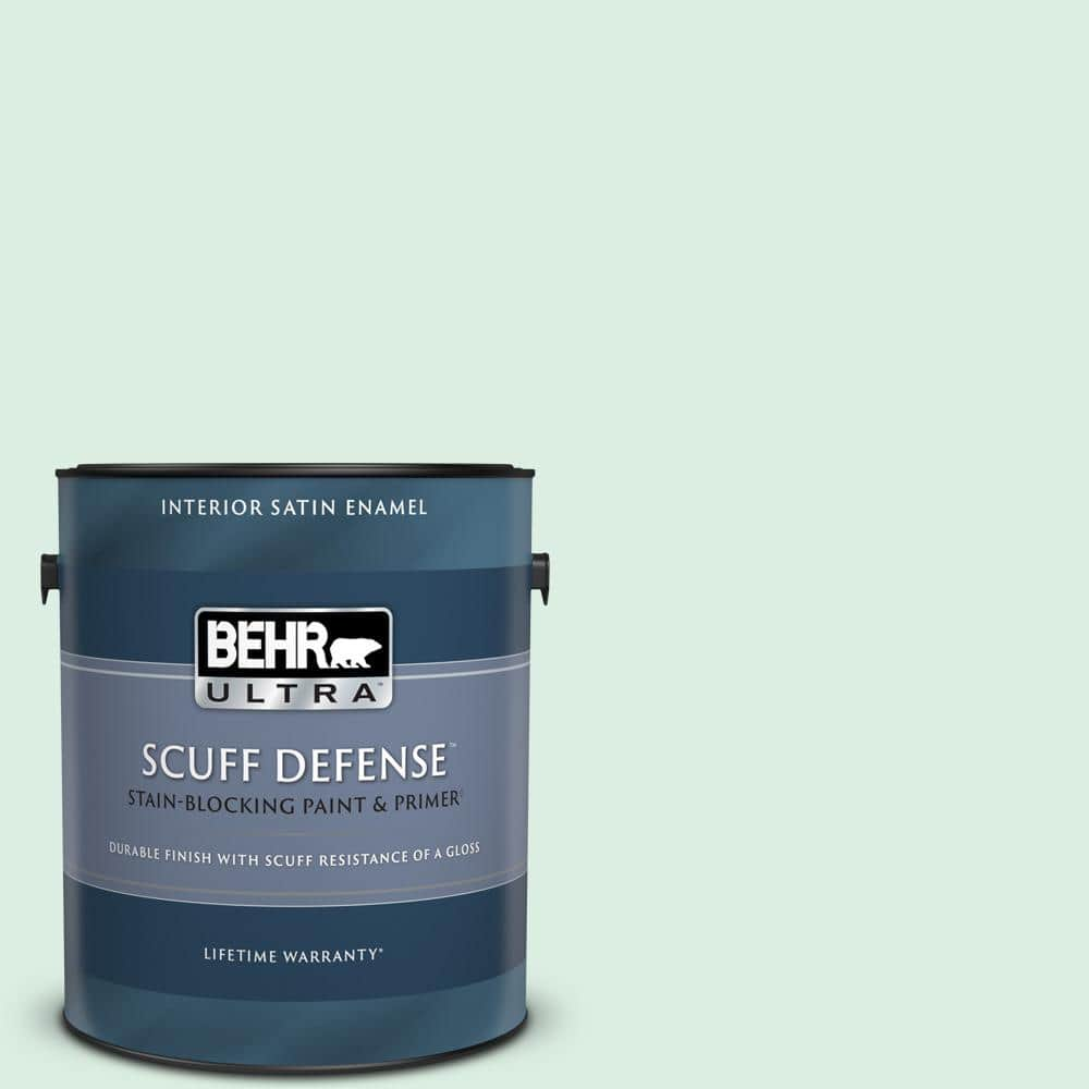 Behr Ultra 1 Gal M420 1 Sparkling Brook Extra Durable Satin Enamel Interior Paint Primer 775001 The Home Depot