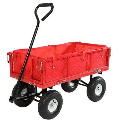 Red Steel Utility Cart with Folding Sides and Liner
