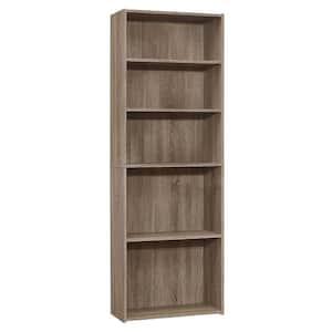 Jasmine 71.25 in. Dark Taupe Reclaimed Wood-Look 5-Shelf Bookcase