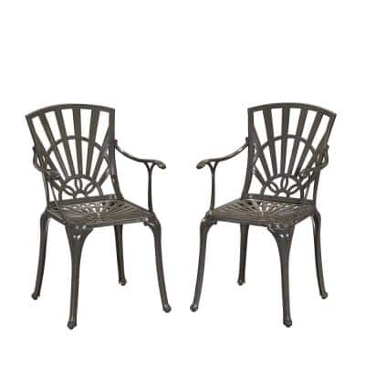 Grenada Stationary Taupe Tan Cast Aluminum Outdoor Arm Chairs (Set of 2)