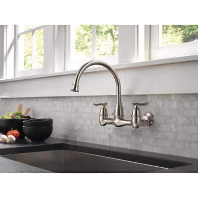 Corin 2-Handle Wall-Mount Kitchen Faucet in Stainless
