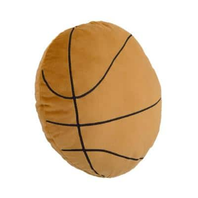 Sports Brown Basketball with Embroidery 13 in. x 13 in. Decorative Pillow