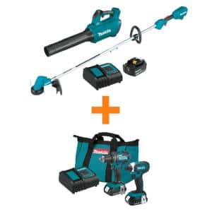 18V LXT Cordless BL Blower/String Trimmer Combo Kit 2-Tool (4.0Ah) with Bonus LXT Driver-Drill/Impact Driver 2-Piece Kit