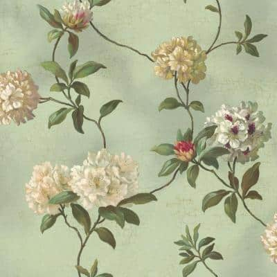 Rhododendron Script Floral Paper Pre-Pasted Strippable Wallpaper Roll (Covers 56 Sq. Ft.)