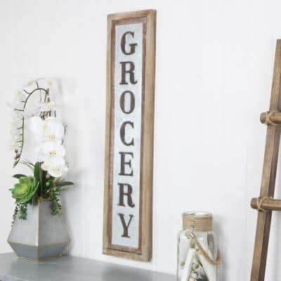 Grocery Vertical Wood Frame Galvanized Wall Sign
