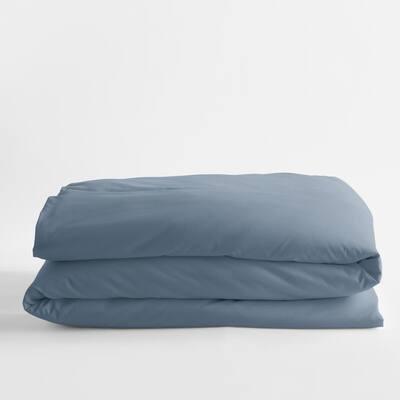 Legends Luxury Solid Mirage Blue Cotton Sateen Twin Duvet Cover