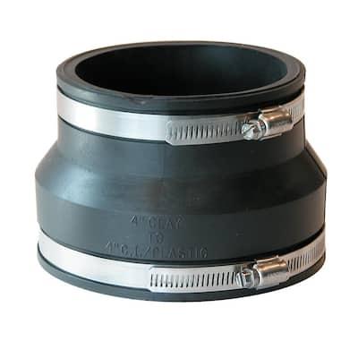 4 in. Clay x 4 in. DWV Flexible PVC Coupling