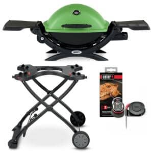 Q 1200 1-Burner Portable Propane Gas Grill Combo in Green with Rolling Cart and iGrill Mini