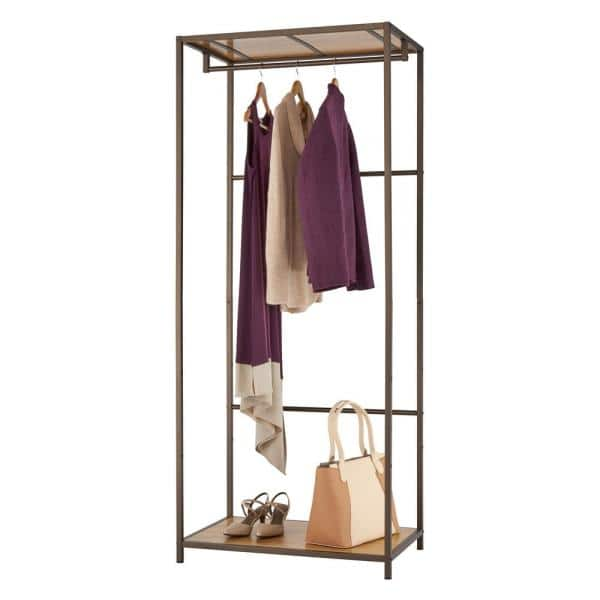 Trinity Bronze Anthracite Bamboo Clothes Rack 30 In W X 72 In H Tbfpra 2706 The Home Depot