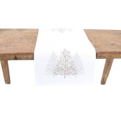 15 in. x 70 in. Festive Trees Embroidered Christmas Table Runner, White