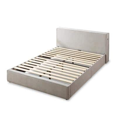 Finley Gray Upholstered Queen Platform Bed Frame with Headboard Shelf and USB