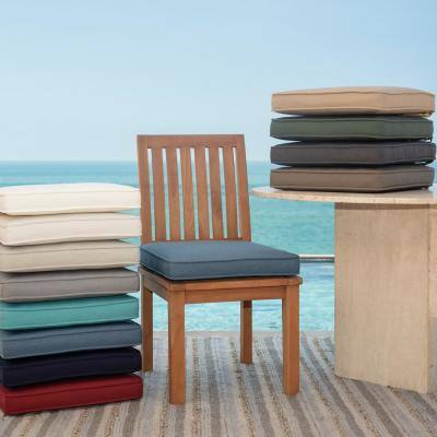 Oasis 15 in. x 17 in. Rectangle Outdoor Seat Cushion in Chambray Blue