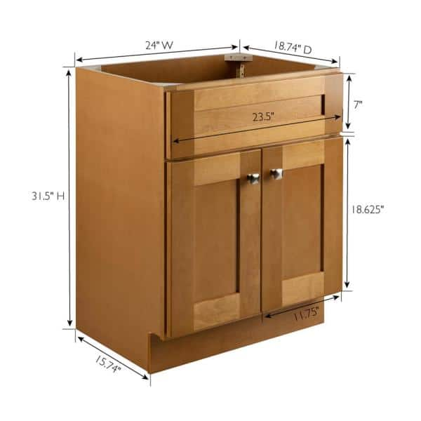 Design House Brookings Plywood Rta 24 In W X 18 In D 2 Door Shaker Style Bath Vanity Cabinet Only In Birch 587105 The Home Depot
