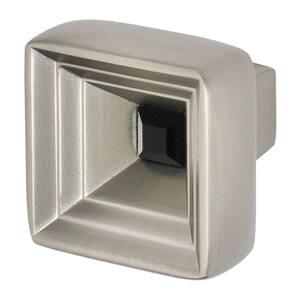 Hidden Treasure 1-1/16 in. Satin Nickel with Black Crystal Cabinet Knob