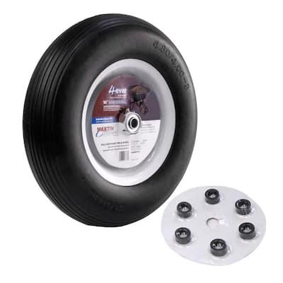 480/400-8 16 in. Flat Free Wheelbarrow and Garden Cart Wheel with Universal Hub 3/4 in. Ball Bearing