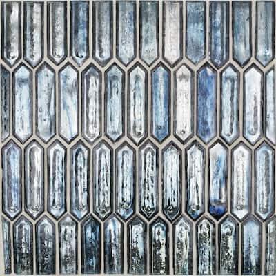 Fargin Ocean Rain Elongated Hexagon 12 in. x 10 in. x 7mm Polished Glass Mosaic Tile (0.82 sq. ft.)