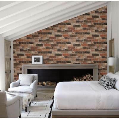 Reclaimed Bricks Orange Rustic Orange Wallpaper Sample