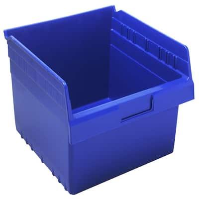 Store-Max 8 in. Shelf 4.5 Gal. Storage Tote in Blue (8-Pack)