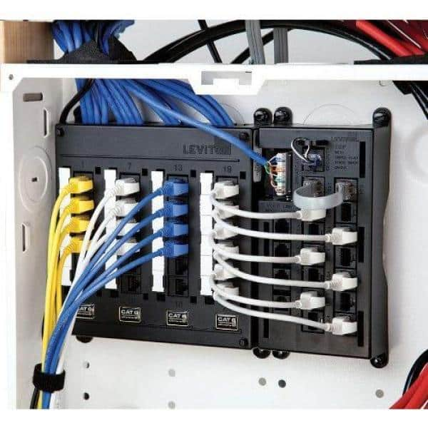 Leviton Structured Media Twist and Mount Patch Panel with 24 Cat 6 Ports -  Black-476TM-624 - The Home DepotThe Home Depot