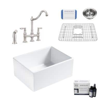 Wilcox II All-in-One Fireclay 24 in. Single Bowl Farmhouse Apron Kitchen Sink with Pfister Bridge Faucet in Stainless