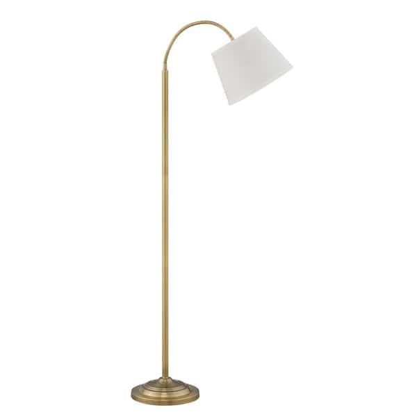 Flettere 63 In Satin Antique Brass, Vintage Brass Task Floor Lamp