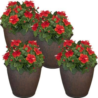Anjelica 24 in. Rust Poly Outdoor Flower Pot Planter (4-Pack)