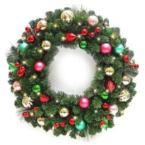 30 in Fantasleigh Battery Operated Pine LED Pre-Lit Artificial Christmas Wreath with Timer