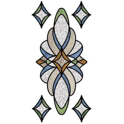 Blue Meriden Stained Glass Wall Decal (Set of 2)