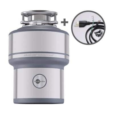 Evolution Excel Quiet Series 1 HP Continuous Feed Garbage Disposal with Power Cord Kit